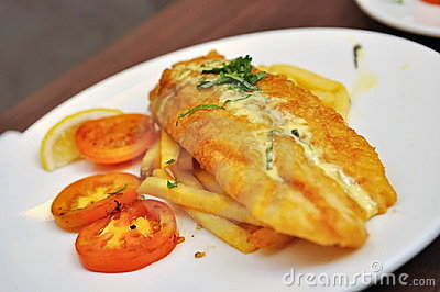 Fried dory fish with fries