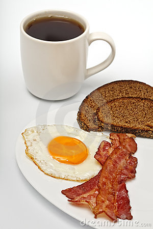 Fried egg with coffee