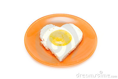 Fried egg in form heart