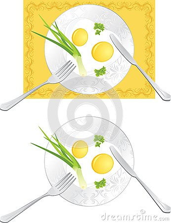 Fried eggs with green onion and parsley