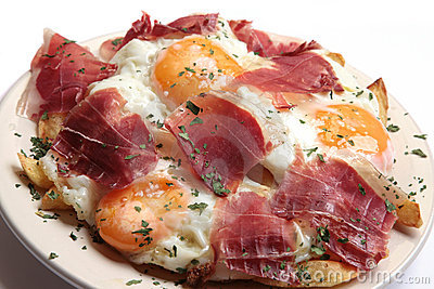 fried Eggs and ham breakfast