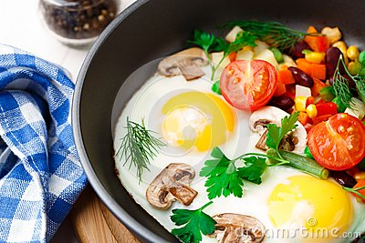 Fried eggs in a pan with vegetables and mushrooms.