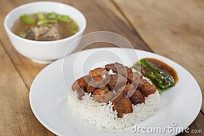 Fried Ferment pork and Crispy Pork with steam rice