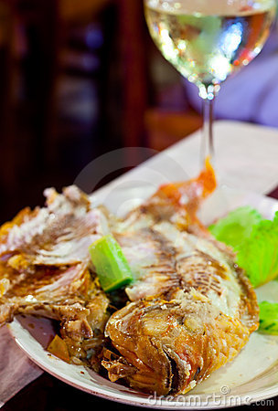 Free Fried Fish On Grill  In Salt Stock Photography - 12328702
