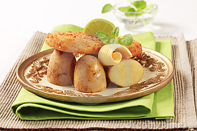 Fried fish and potatoes