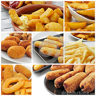 Free Fried Food Collage Royalty Free Stock Photography - 40022487