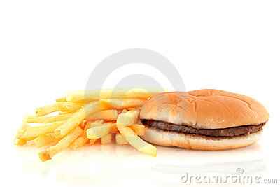 Fried frites and hamburger