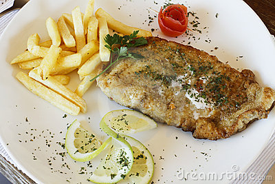 Fried hake fish and chips