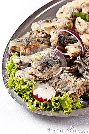 Free Fried Herring Dish Stock Photography - 38745322