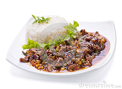 Fried liver with vegetable