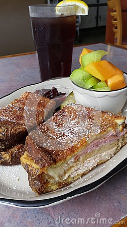 Fried Monte Cristo Sandwich with fruit