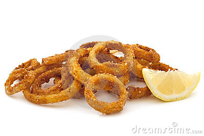 Fried Onion Rings Over White