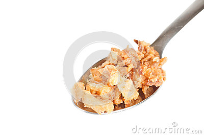 Fried onions on a coffee spoon