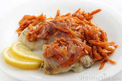 Fried plaice with carrot