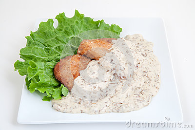 Fried pork chops with mushroom sauce