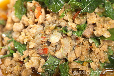 Fried Pork With Mint Leaves