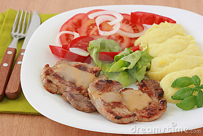 Fried pork with sauce and potato