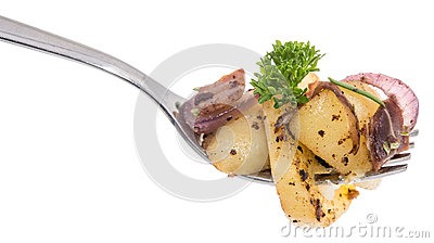 Fried Potatoes on a fork