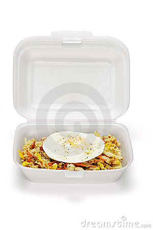 Fried rice and egg in Styrofoam box