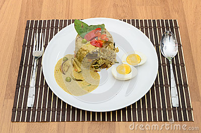Fried rice green curry with pork and boil egg