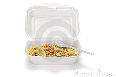 Fried rice in Styrofoam box