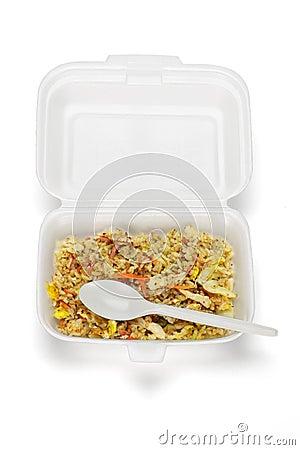 Fried rice in Styrofoam box