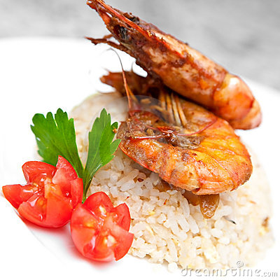 Fried rice with tiger prawns