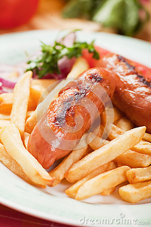 Fried sausage with french fries