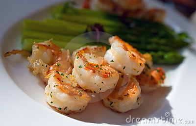 Fried Shrimp With Asparagus Stock Photography - Image: 22497812