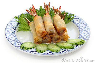Fried shrimp spring rolls, thai cuisine