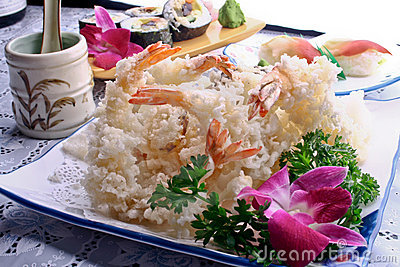 Fried shrimp and sushi