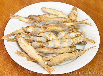 Fried smelt fish