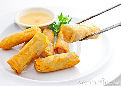 Fried Springrolls With Chopsticks Royalty Free Stock Photos - Image: 22410348