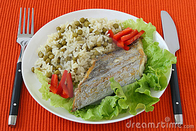Fried swordfish with boiled rice