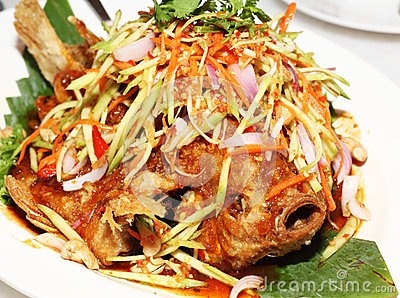 Fried Tilapia Fish Topped With Mango Salad Royalty Free Stock Photos ...