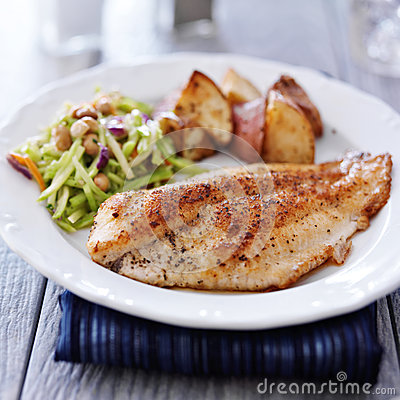 Free Fried Tilapia With Asian Slaw Royalty Free Stock Photo - 44228265