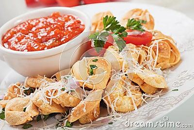 Fried tortellini pasta
