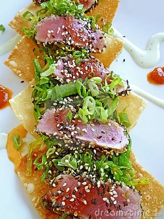 Fried Wonton Seared Tuna Sushi Appetizer