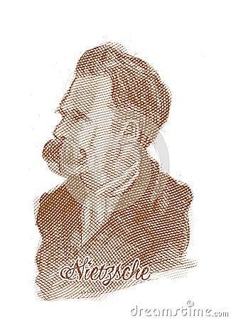 Friedrich Nietzsche Engraving Style Sketch Portrait Editorial Photography