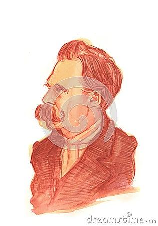 Friedrich Nietzsche Watercolour Portrait Editorial Stock Image