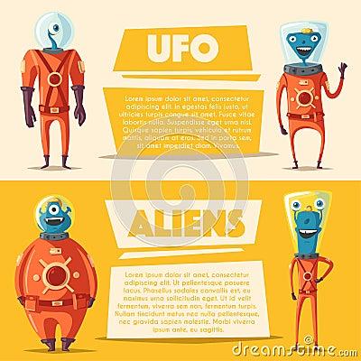 Free Friendly Aliens. Cartoon Vector Illustration Stock Photo - 87424310
