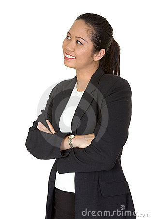Friendly asian business woman looking up