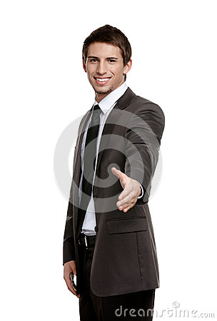 Friendly businessman giving hand to seal the agreement