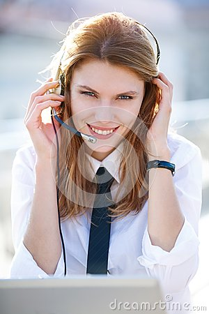 Friendly Call Center Operator Girl