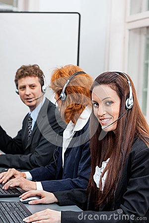 Free Friendly Callcenter Agent Operator With Headset Telephone Royalty Free Stock Photography - 37449377
