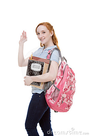 Greeting Caucasian College Student With Backpack Royalty Free ...
