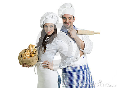 Chefs with bread and rolling pin