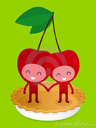 Friendly Cherry Couple On Pie