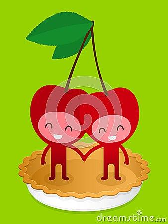 Friendly Cherry Couple On Pie