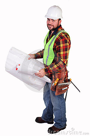 Friendly Construction Worker with Blueprints